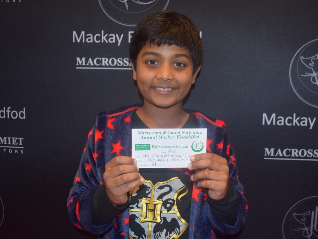 Sri Arvapalli, 10, received highly commended for his grade 4 characterisation at the Mackay Eisteddfod.
