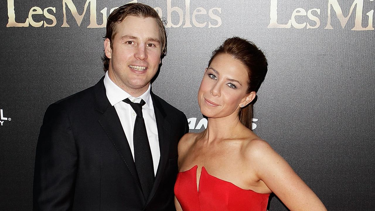 Stuart Webb and Kate Ritchie walk the red carpet during the Australian premiere of Les Miserables at the State Theatre in 2012. Picture: Getty