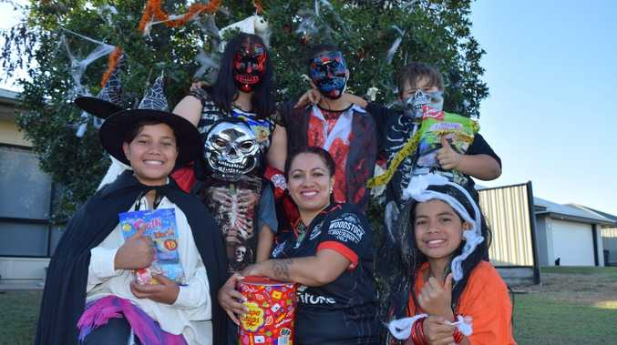 Trick-or-treaters ready for a spooky night out