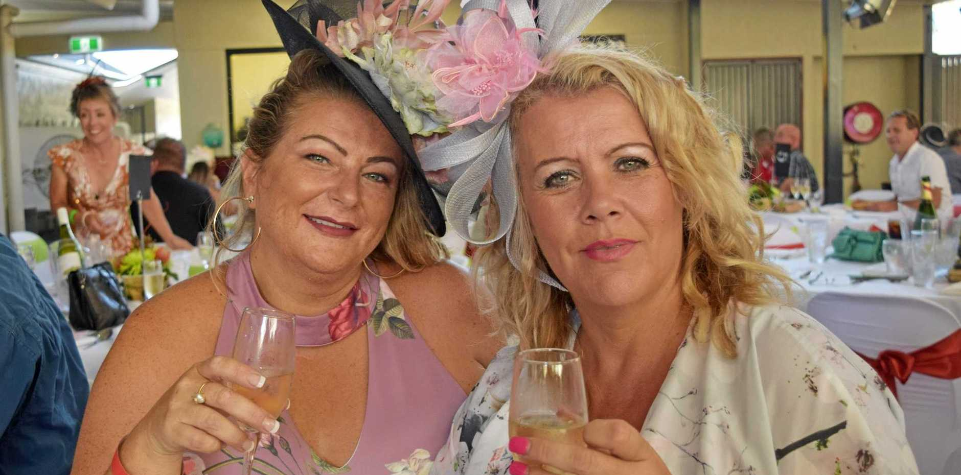 Joanne Bartholomew and Jane Patterson lunching in style for the Melbourne Cup at the Reef Gateway Hotel.