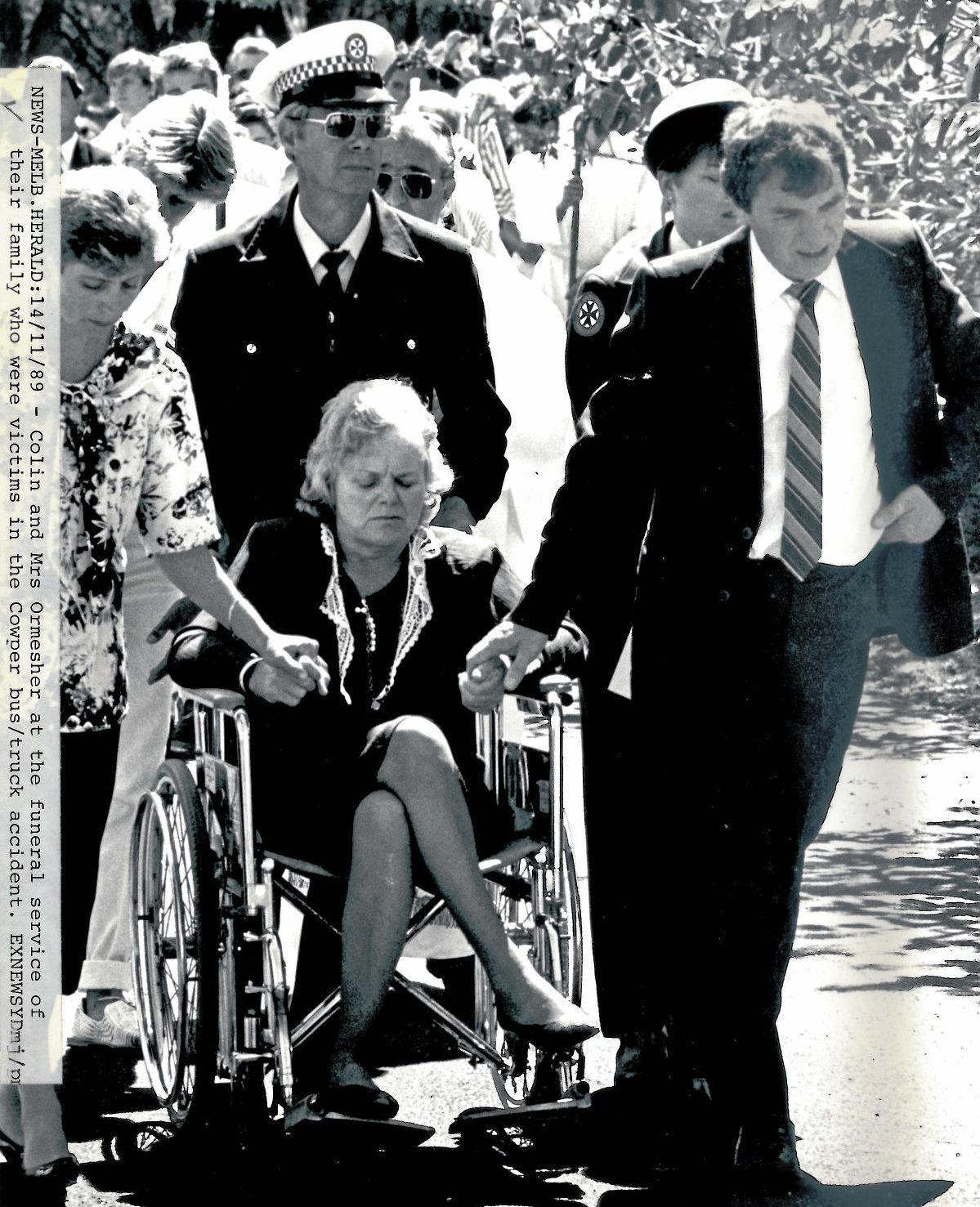 Colin & Angela Ormesher at the funeral service for family members who were killed in the Grafton Bus Crash Picture taken 30/10/1989