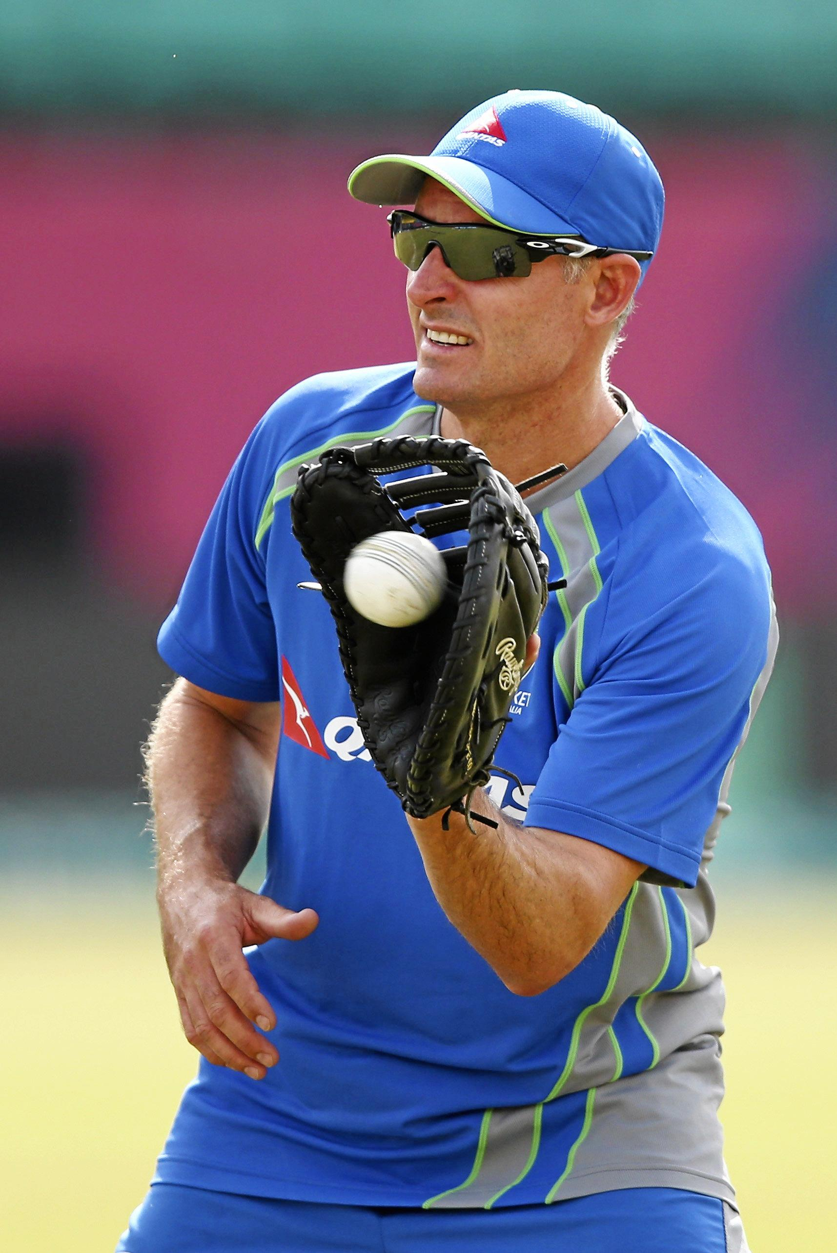 DHARAMSALA, INDIA - MARCH 16:  Australian Consultant Mike Hussey trains during an Australian nets session ahead of the ICC 2016 Twenty20 World Cup on March 16, 2016 in Dharamsala, India.  (Photo by Ryan Pierse/Getty Images)