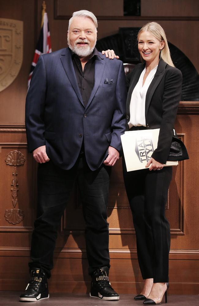 Kyle Sandilands and Anna Heinrich on the new set of CH10 show