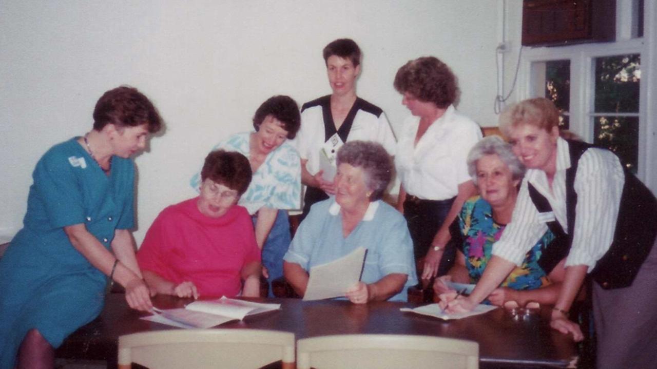 Georgie Somerset, Bev Apel, Pam Somerset, Cindy Benjamin, Myra Dingle, Val Homer, Jan Darlington and Margaret Cruickshank at the QRW Steering Committee meeting in Mundubbera.