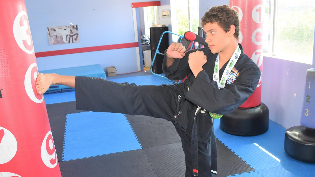 KARATE KID: Gympie's Xavier Gomes hope to one day be a 10th degree black belt.