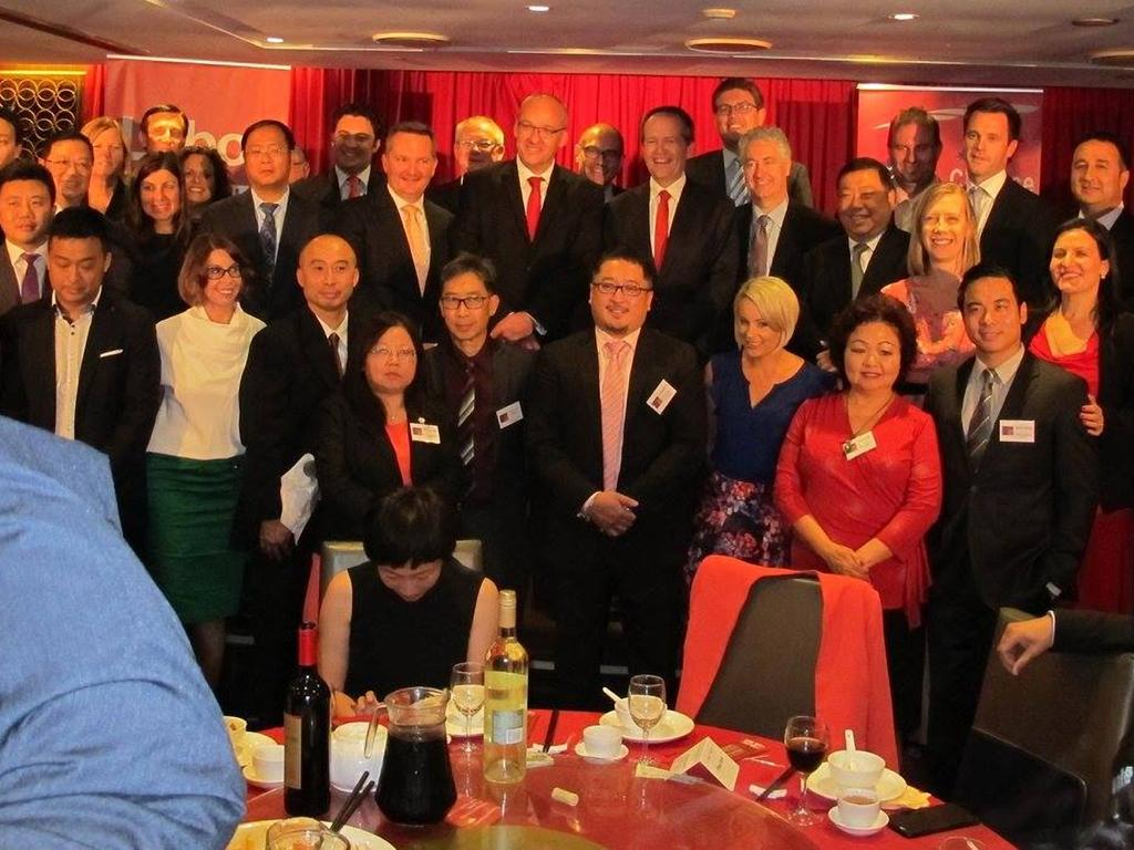 The Chinese Friends of Labor fundraising dinner in March 2015 was attende by (L-R) Huang Xiangmo on left of Chris Bowen, Luke Foley, Labor leader Bill Shorten, Adam Searle and Ernest Wong. Picture: Facebook