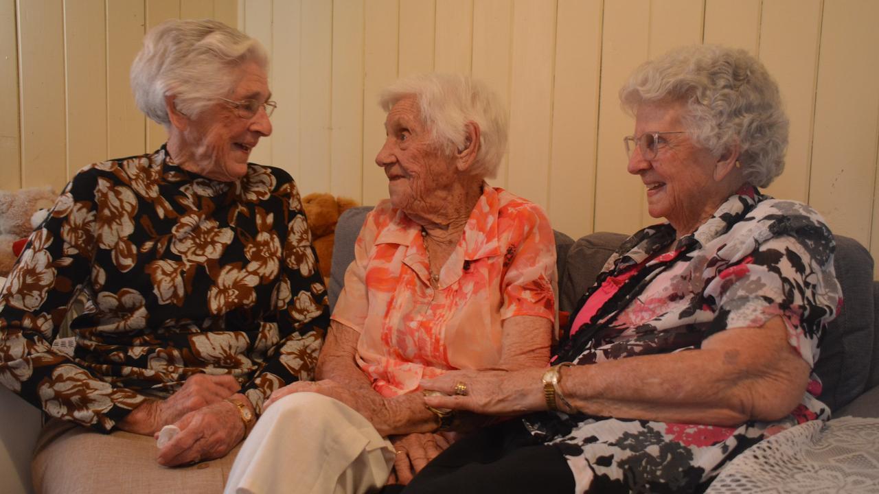 SPECIAL BOND: Sisters Edna Cooling, 99, Ethel Ryan, 103, and Maud Hatchett, 99, celebrate Ethel's 103rd birthday in Nanango. (PHOTO: Jessica McGrath)