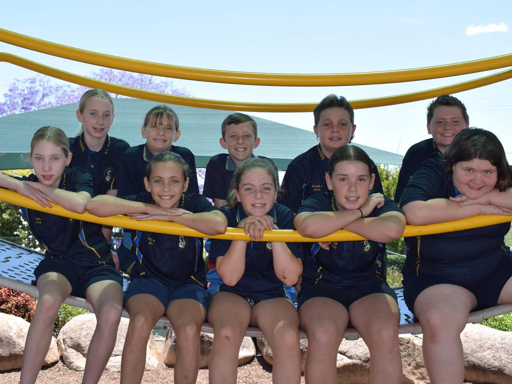 Five sets of twins will graduate from St Patrick's Primary School this year, having shared their learning journey all the way from Prep in 2013. They are: (back from left) Leila Kunst, Meg Stevenson, Joshua Rushton, Hunter Morgan and Alex Vanderhoek and (front) Tiarna Kunst, Gracie Stevenson, Brooklyn Rushton, Montana Morgan and Lucy Vanderhoek.