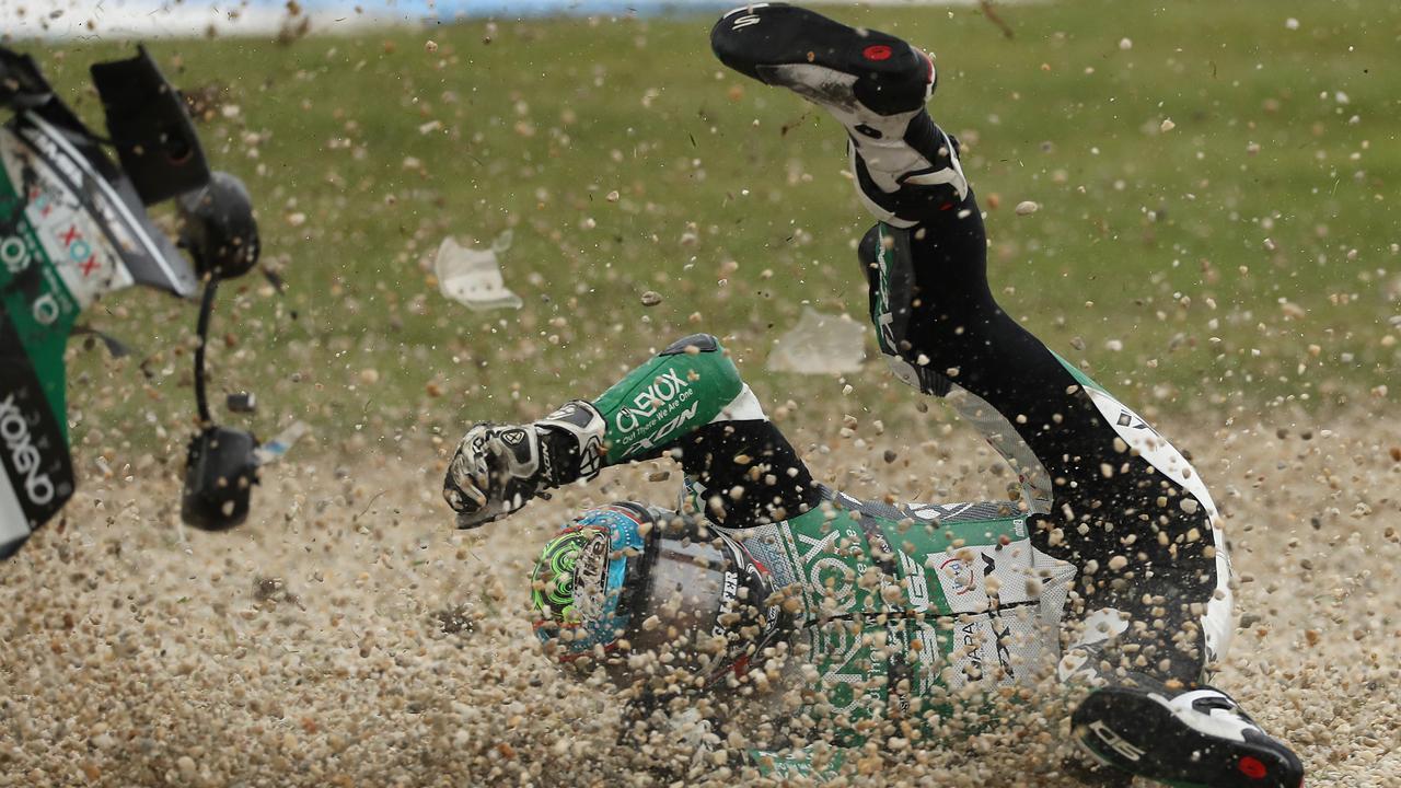 Moto2 rider Remy Gardner crashes into the gravel.