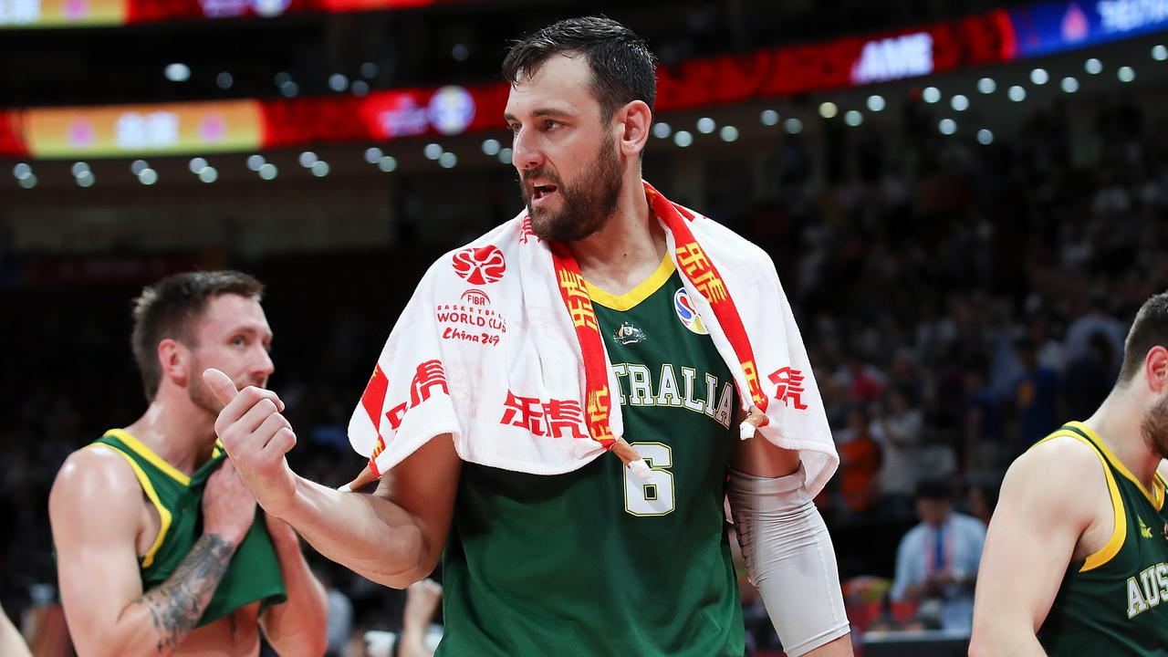 Andrew Bogut after the loss to Spain in the semi-finals of the FIBA World Cup in China. Picture: Getty Images
