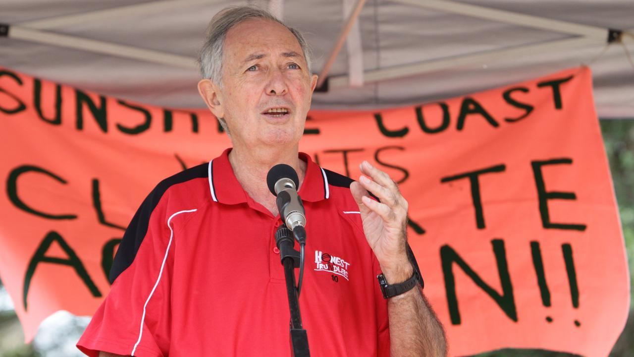 Professor Ian Lowe ata climate change rally. Photo: Brett Wortman / Sunshine Coast Daily
