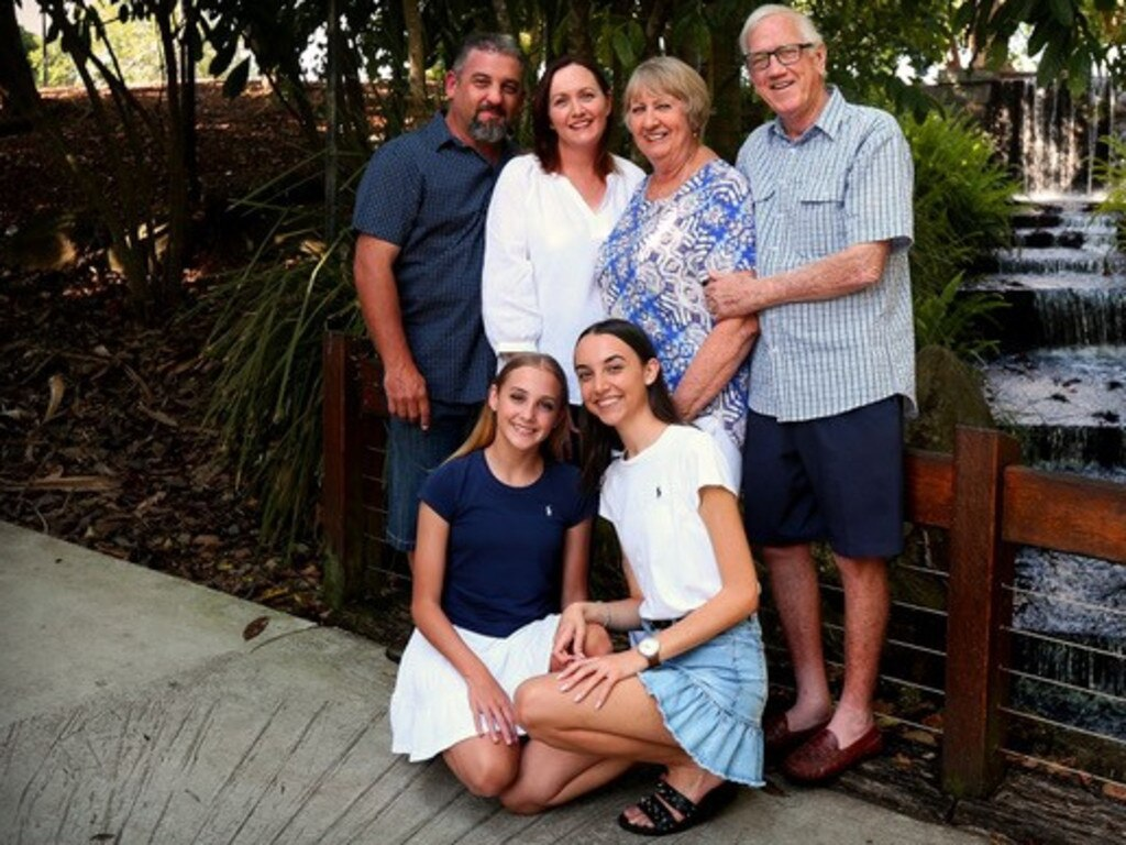 Charles and Helene Greenhalgh, who are celebrating 50 years of marriage, with their daughter Michelle, son-in-law Tony Brazil and granddaughters Ashlin Lily and Caitlin Rose.