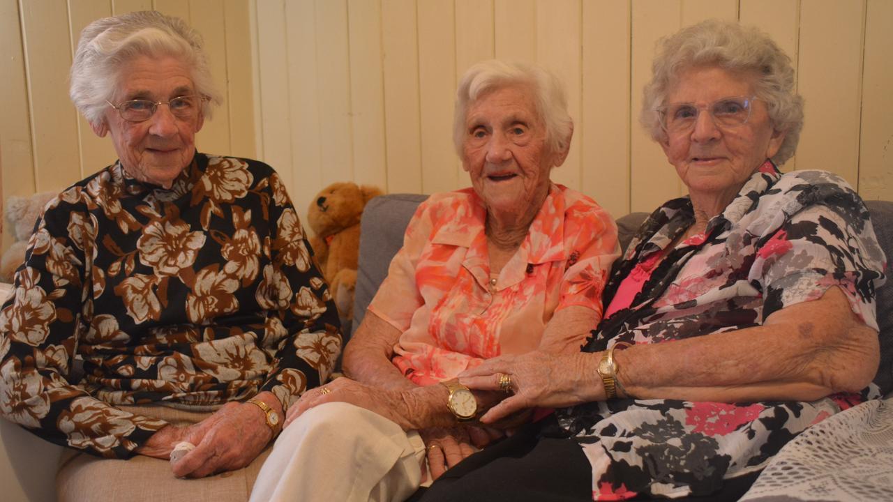 SISTERS: Edna Cooling, 99, Ethel Ryan, 103, and Maud Hatchett, 99, celebrate Ethel's 103rd birthday in Nanango. (PHOTO: Jessica McGrath)