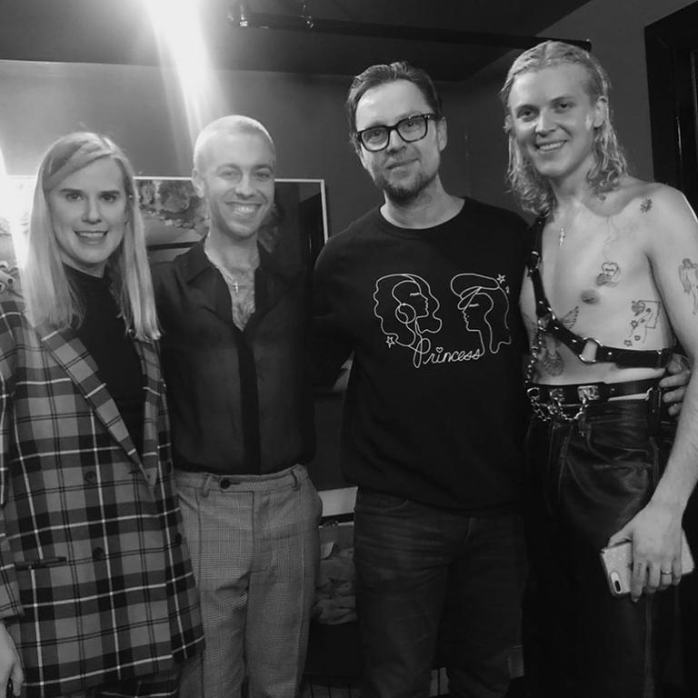 Brisbane band Cub Sport with Darren Hayes backstage at their show in Los Angeles in May. Photo: Instagram