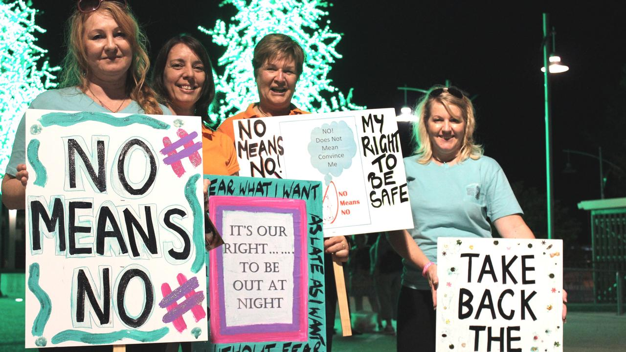 Carolynne Fisher, Belinda Hassan, Bridget Mather and Gina Hansen at Mackay's 2016 Reclaim the Night march.