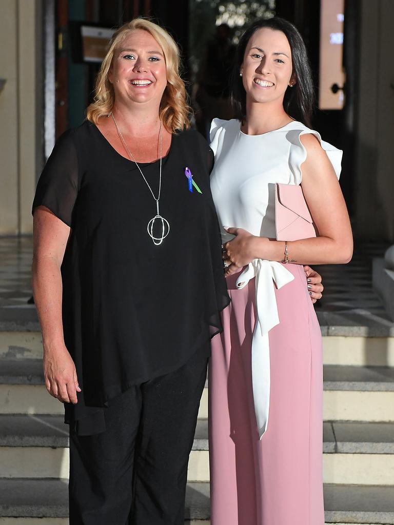 Jennifer Irving and Tamika Megawatt celebrate their success at the Queensland College of Teachers' TEACHX awards. Picture: John Gass