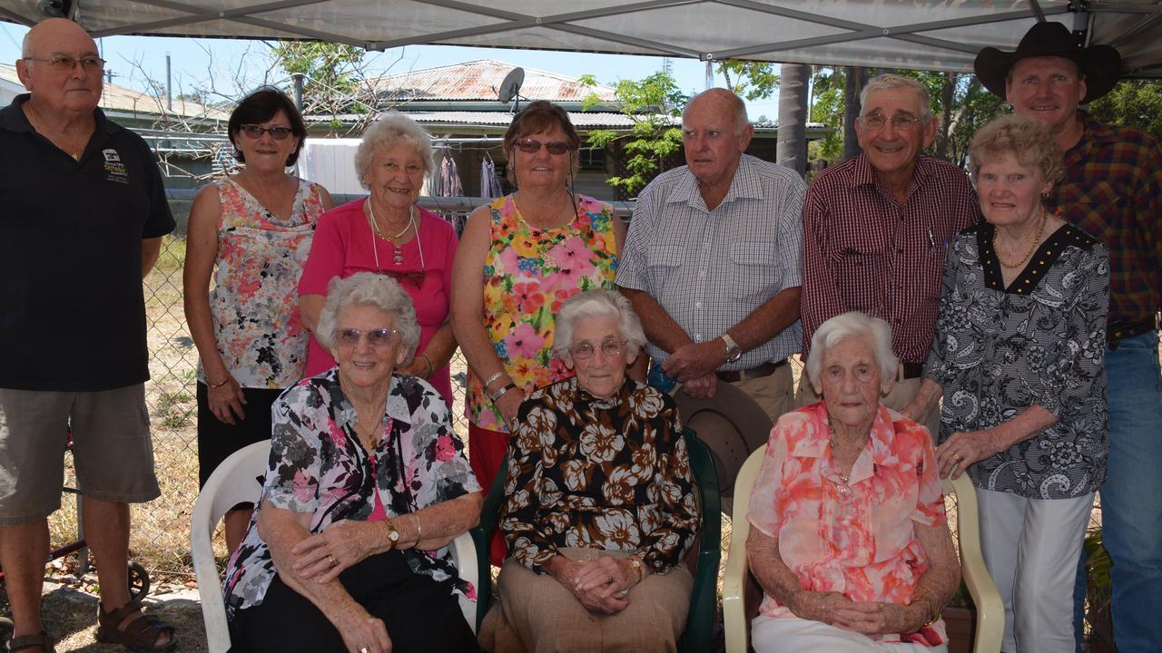 FAMILY: Bill and Val Alexander, Maud Hatchett, Val Ryan, Edna Cooling, Silvia and Kevin Ryan, Jack and Von Ryan and Shaun Ryan all celebrate Ethel Ryan's 103rd birthday in Nanango. (PHOTO: Jessica McGrath)