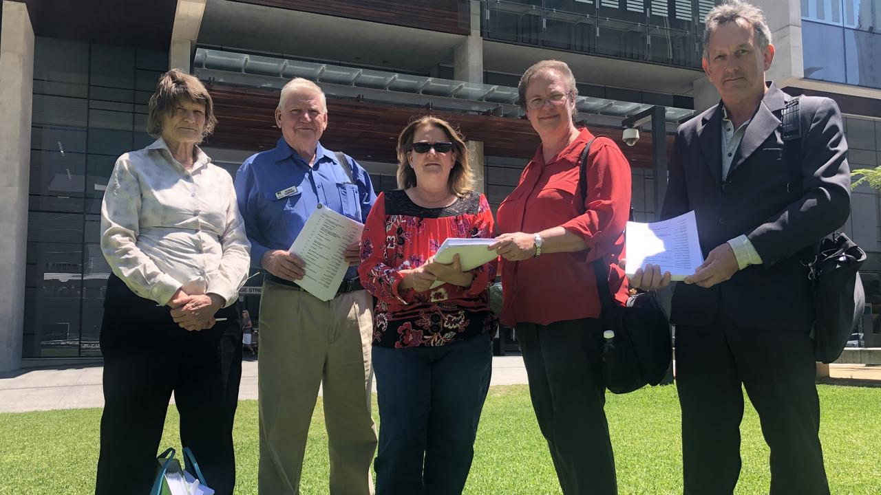 Rosemaree Thomasson, Ian Dainer, Carol Ashworth, Ursula Monsiegneur and Gary Duffy outside Brisbane court.