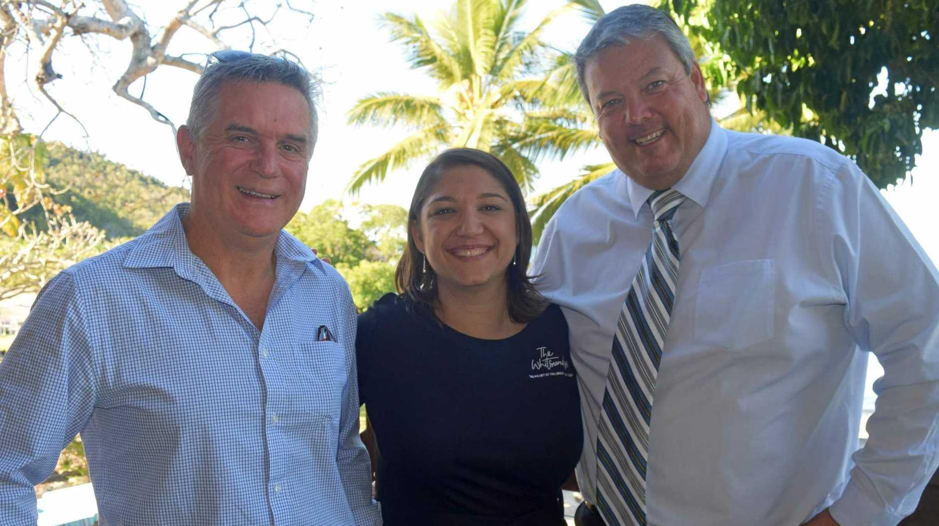Tourism Whitsundays chairman Al Grundy, chief executive officer Tash Wheeler and Whitsunday Regional Council Mayor Andrew Willcox celebrated record numbers at the 2019 Whitsunday Tourism Awards.