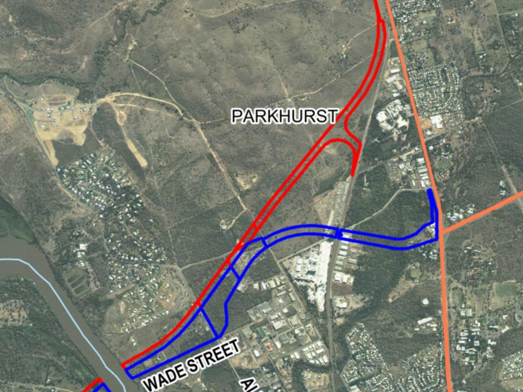 MAP: Close up view of the alignment of the Rockhampton Ring Road and Western Road Rail Corridor.