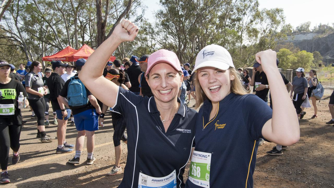 Armstrong Auto Group's Jacqui Armstrong with Year 10 Fairholme College student Mary-Jane Scanlon at the Hike for the Homeless. Picture: Nev Madsen.