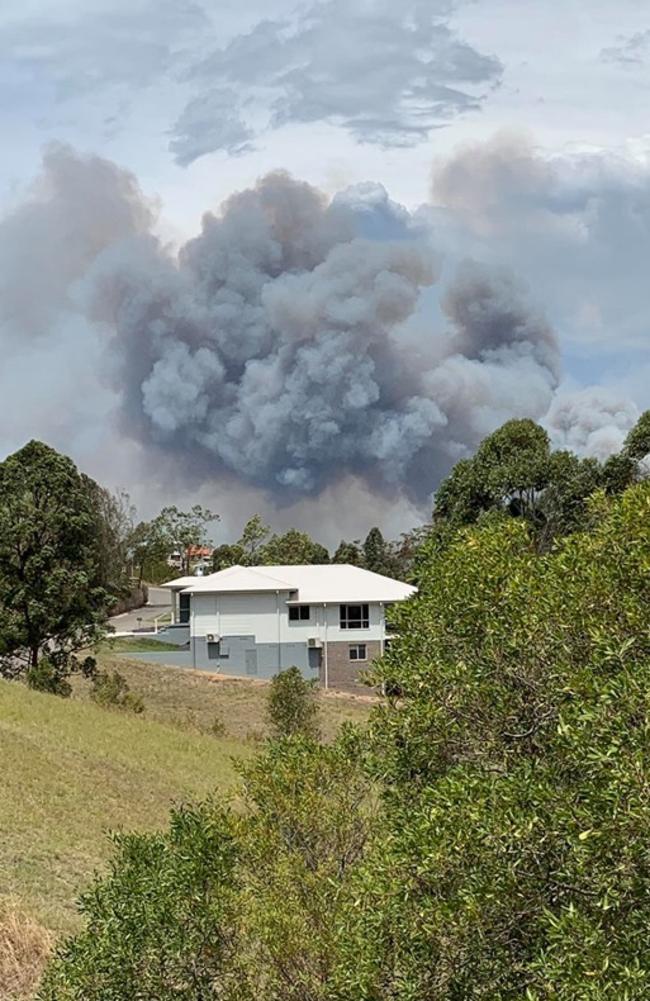 The Darawank bushfire near Hallidays Point. Picture: Destination Furniture & Homewares/ Facebook