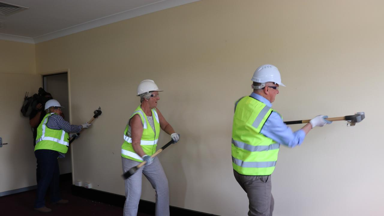 DEMOLITION COMMENCES: Capricornia MP Michelle Landry, Rockhampton region mayor Margaret Strelow and Deputy Prime Minister Michael McCormack MP visited the Quay St building which will be demolished to make way for the new art gallery.