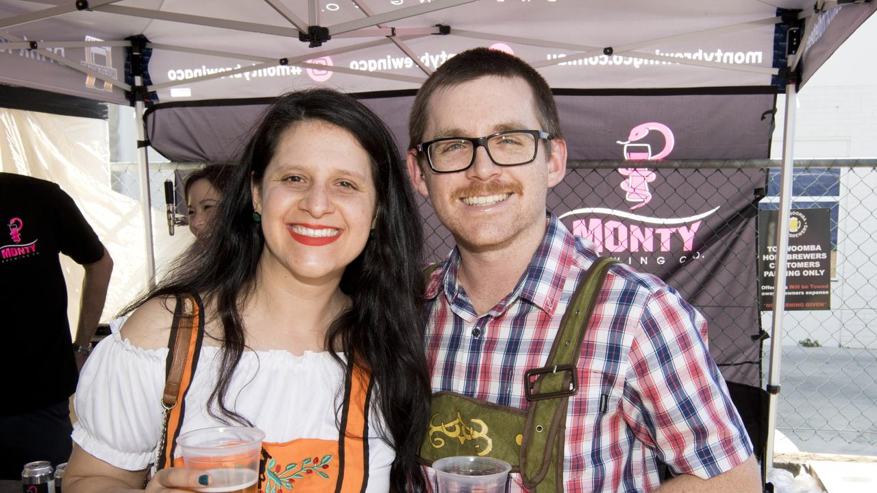 Tamara Freitas and Matt Kirk check out the brews at Oktoberfest at Volcanic Brewing. Picture: Nev Madsen