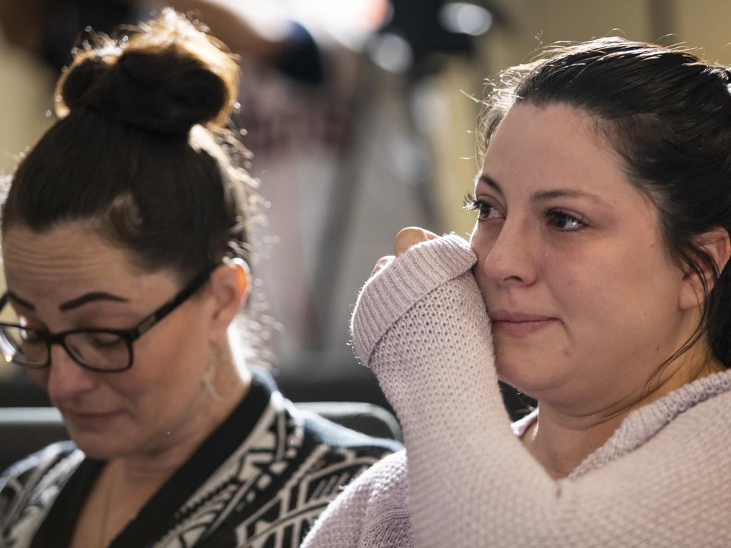 Ange Estorffe, right, the wife of slain Australian Brenton Estorffe, at a press conference last week. Picture: Scott Dalton