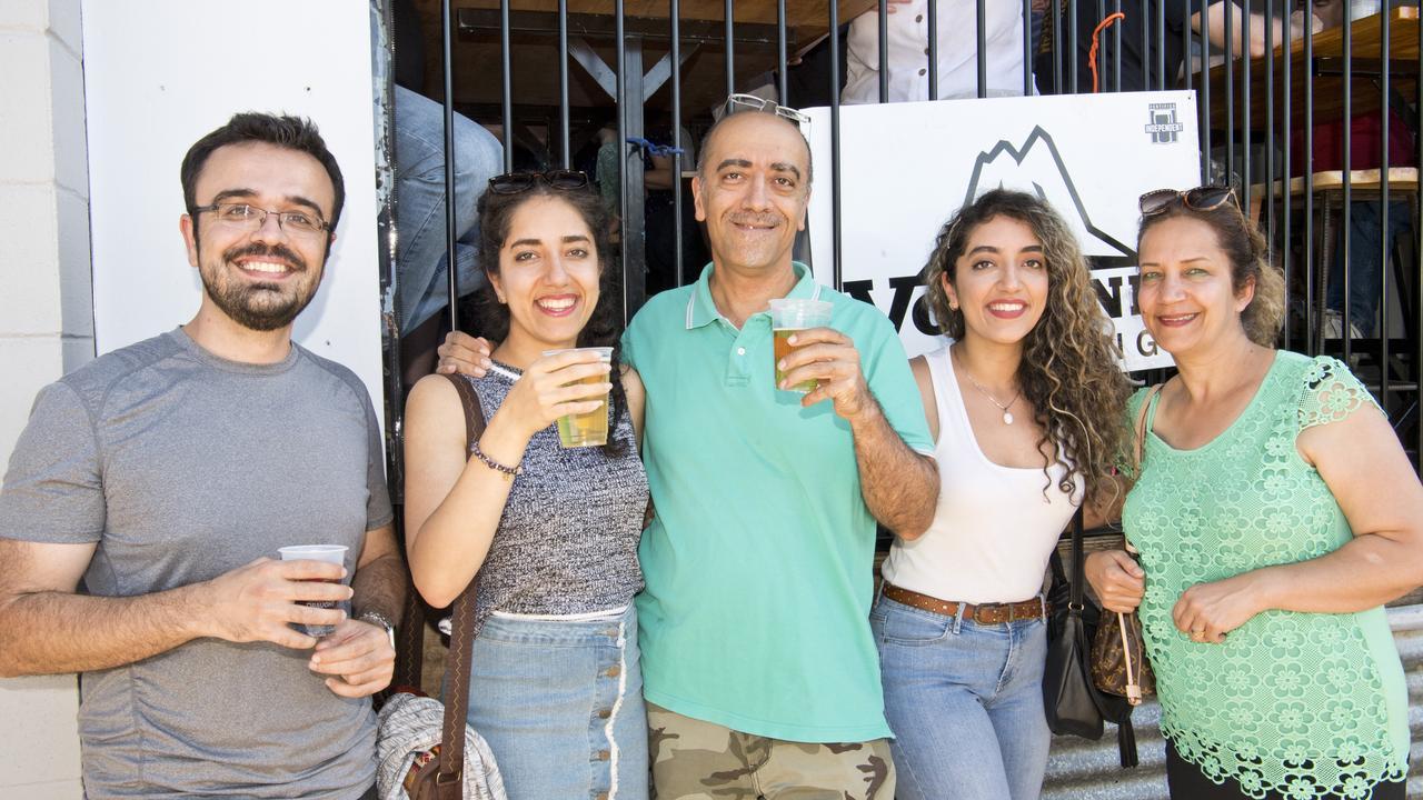 Having fun is Ash Dns with (from left) Farnoosh, Kayvan, Anahita and Farah Shokoofan. Picture: Nev Madsen.