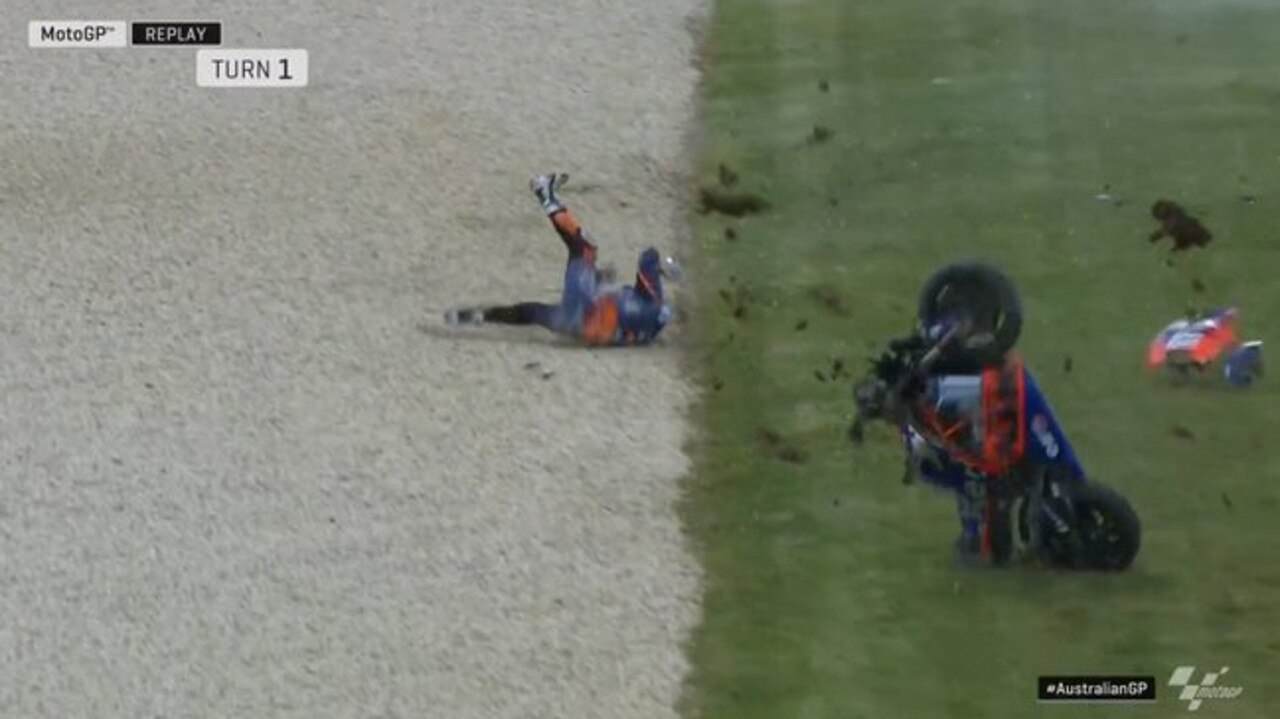 Miguel Oliveira flew off his bike.