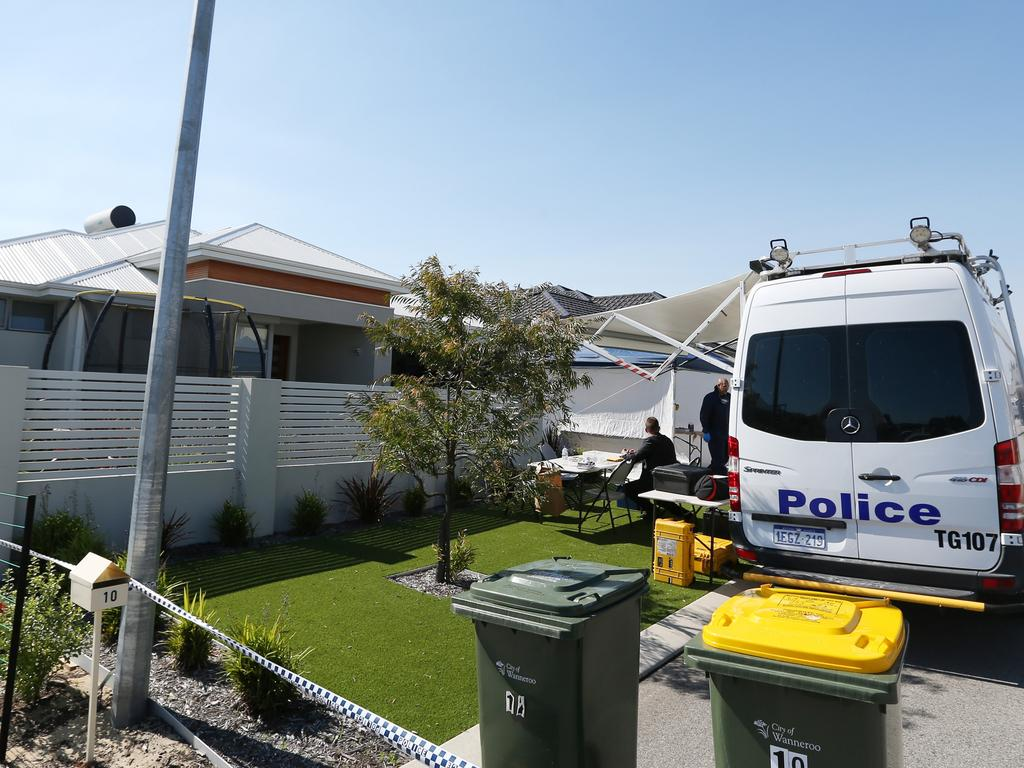 Police investigate the scene of a double murder on Bogdanich Way in Madeley. Picture: Daniel Wilkins