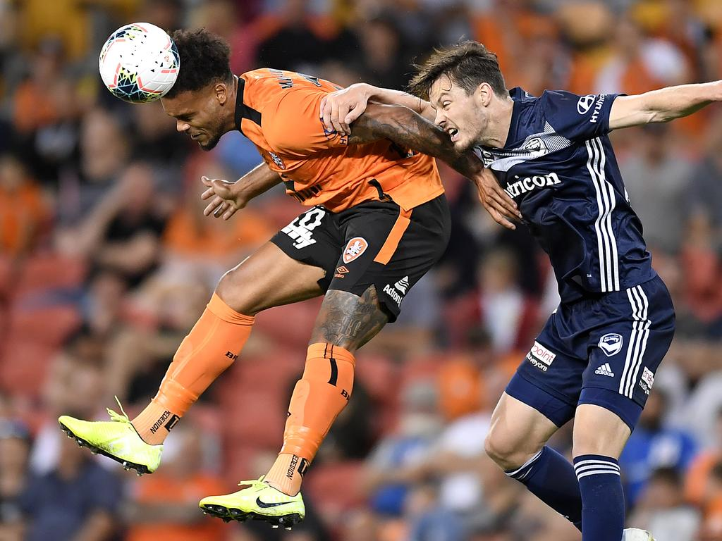 Roar coach Robbie Fowler is unlikely to rush powerful forward Aaron Amadi-Holloway (left) into the starting side. Picture: Getty Images