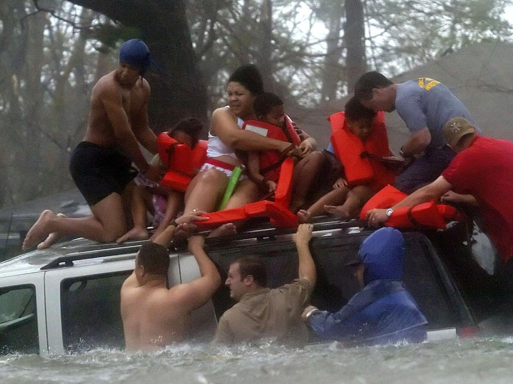 Rescue efforts during Hurricane Katrina. Picture: AP