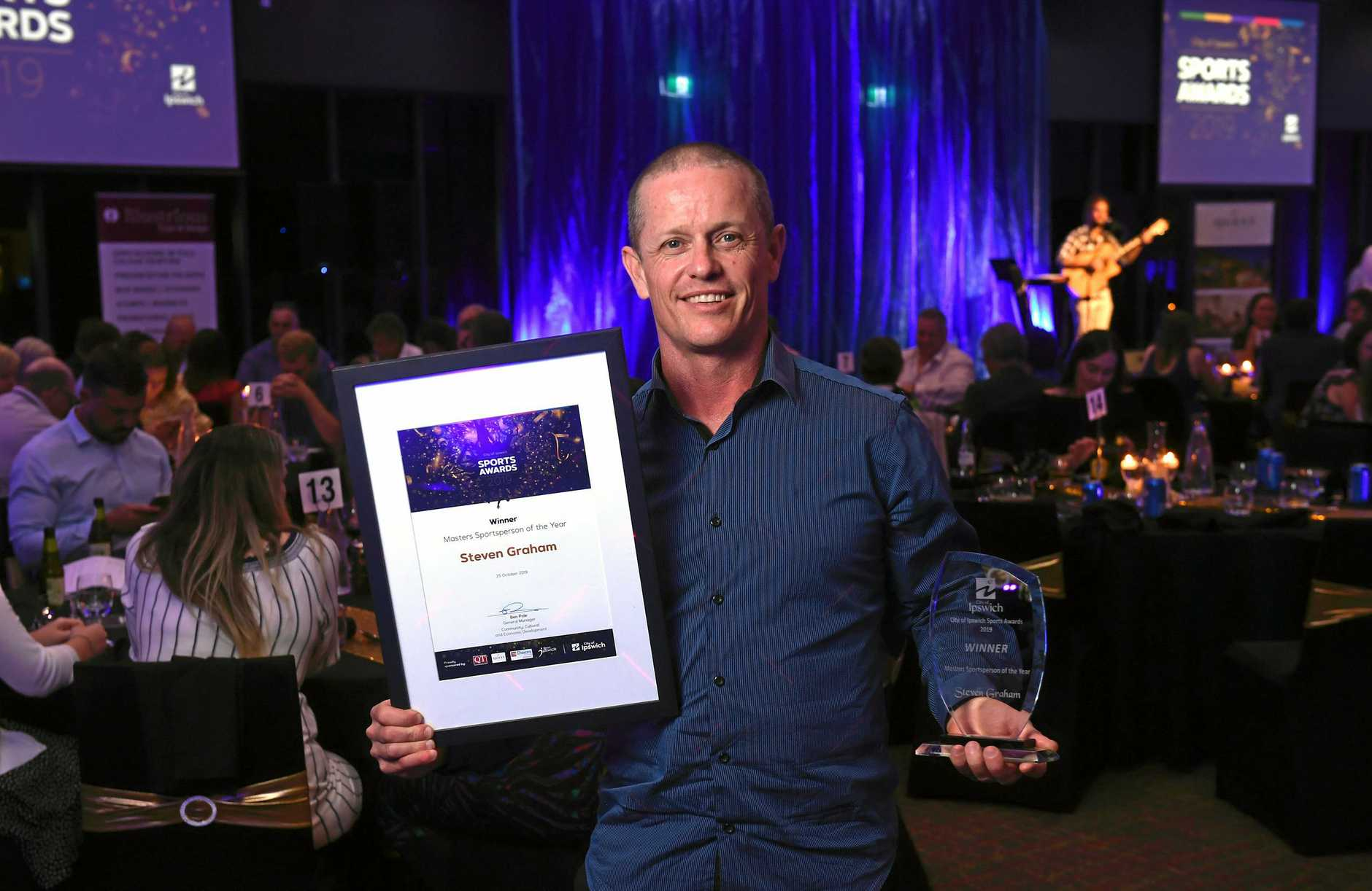 Masters Sportsperson of the Year Steven Graham at the City of Ipswich Sports Awards held at the North Ipswich Reserve on Friday night.