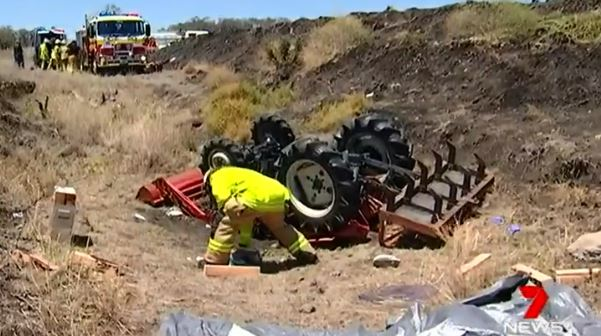 A woman, 26, was pinned under a tractor for an hour after the dam wall she drove onto collapsed at a Scrubby Mountain property.