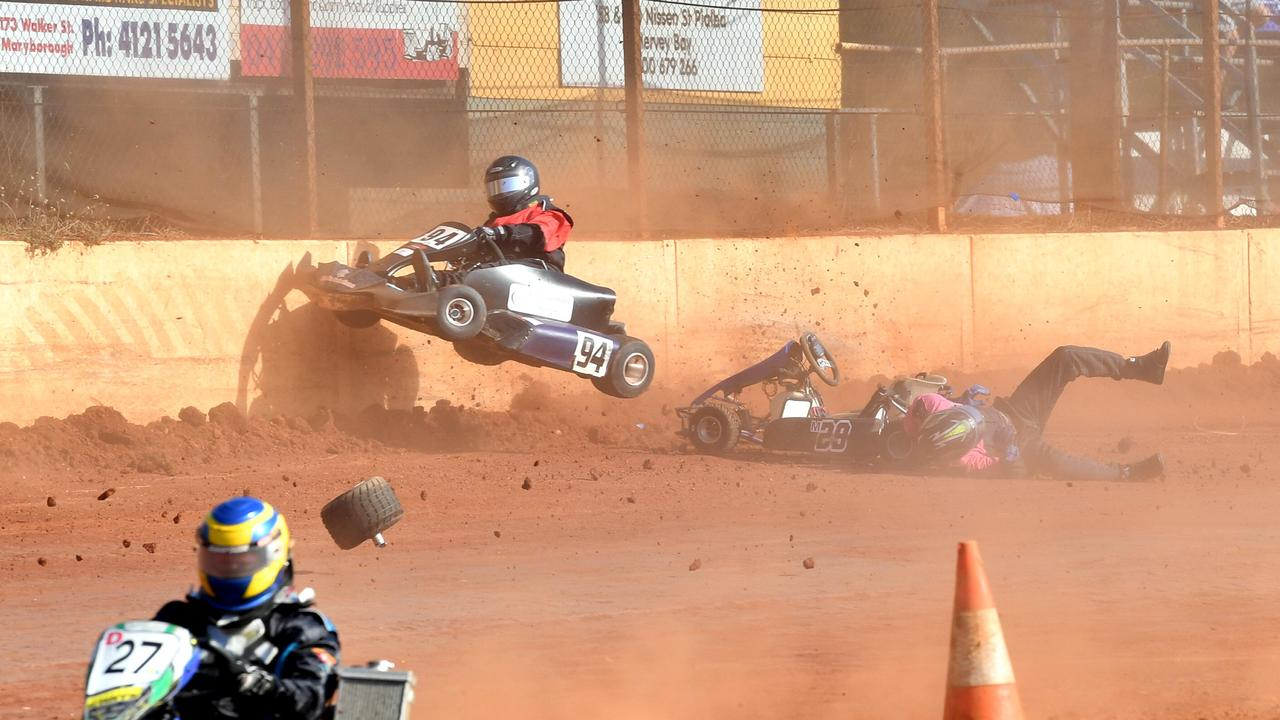 2019 SKAA Qld Titles at Maryborough Speedway - 125cc Non Gear Box - Darren Nilsen (M29) is flung from his kart as Kate Brown (94) flies over him and into the wall also.