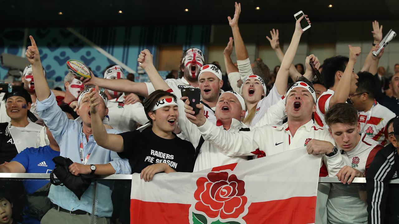 England fans celebrate after their team's amazing win.