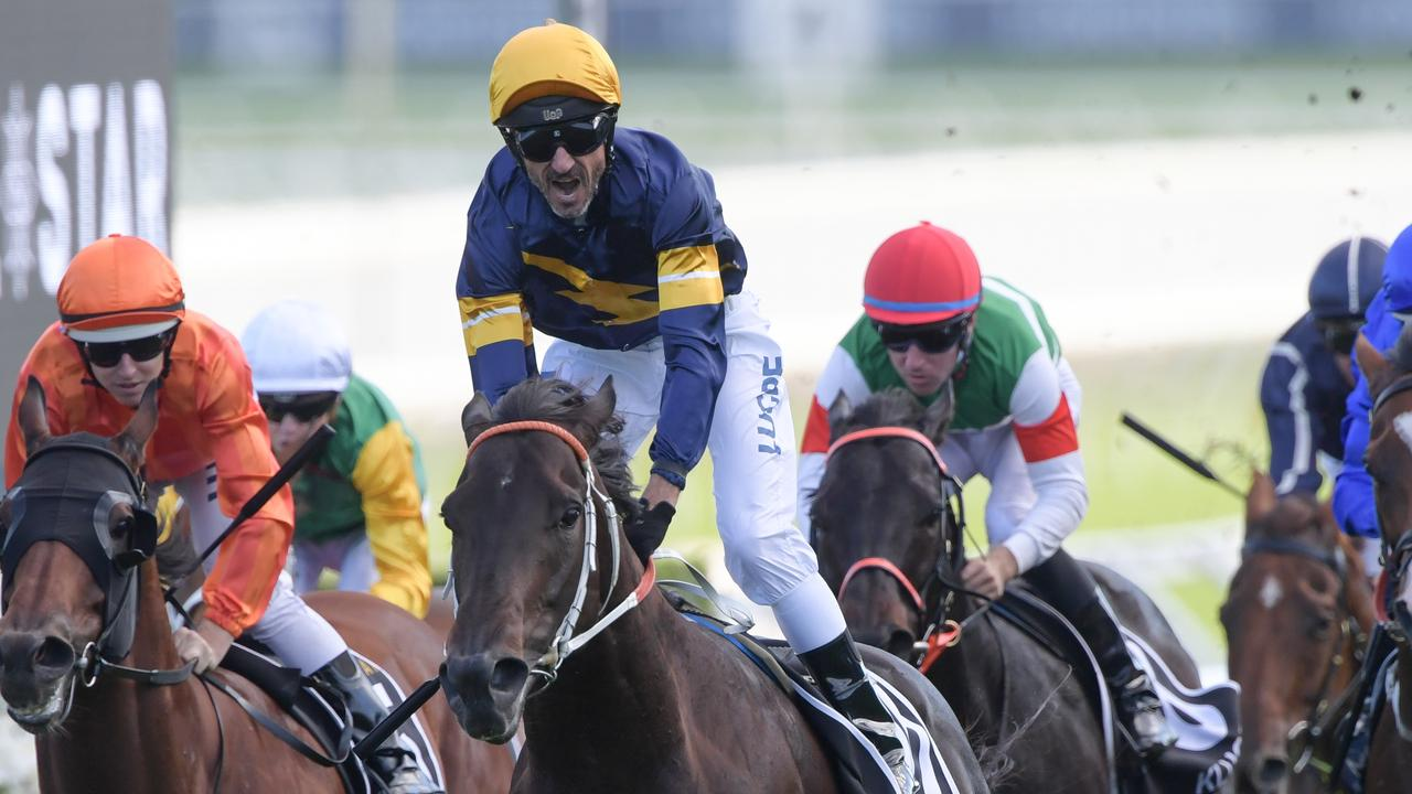 Glen Boss rides Brutal to victory in the Doncaster Mile in April. Picture: AAP
