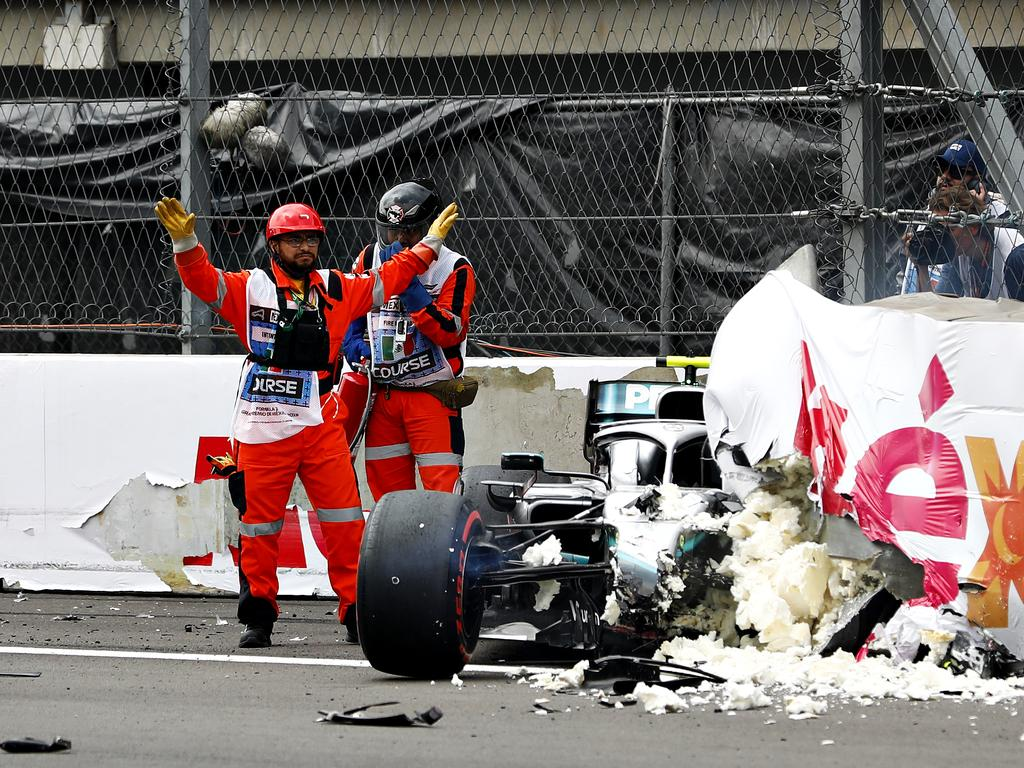 Valtteri Bottas' car was worse for wear.