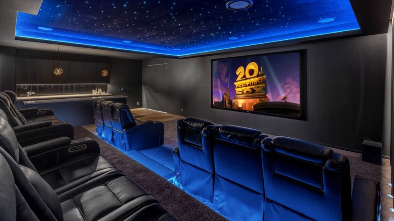 The home has its own home theatre with bar.