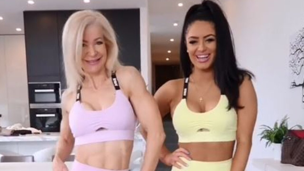 Genetic gym bunnies Lesley Maxwell and Tia Christofi. Picture: Instagram / tiachristofi