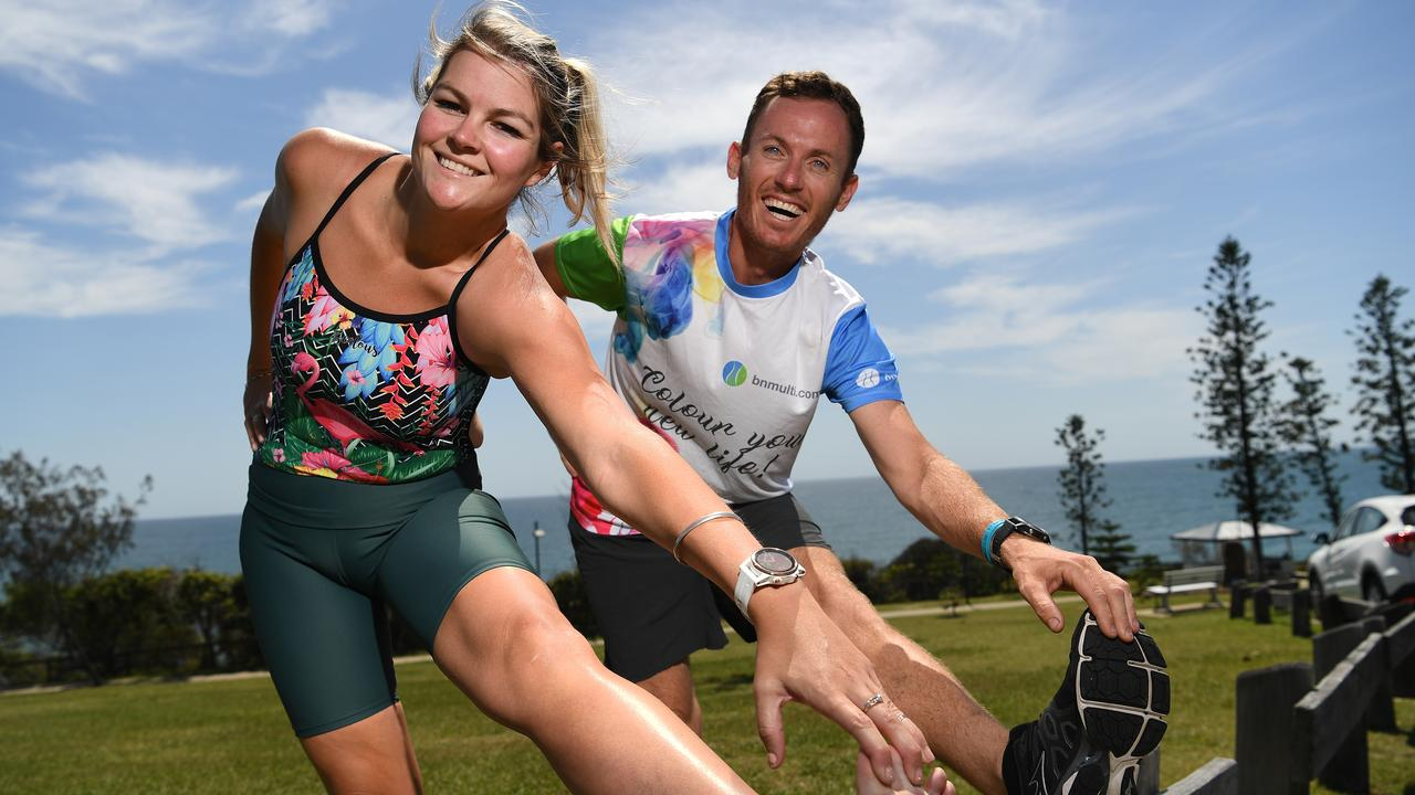 TRANSFORMED: Shannon Taylor and Alita Cobb (left) lost weight through gastric sleeve surgery and are now taking part in the Noosa Triathlon. Photo: Warren Lynam