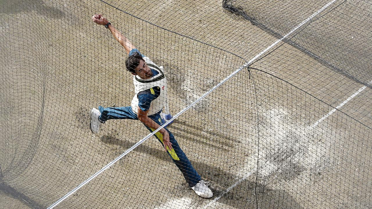 Starc sends one down in the nets during the Ashes in England this year. Picture: Getty