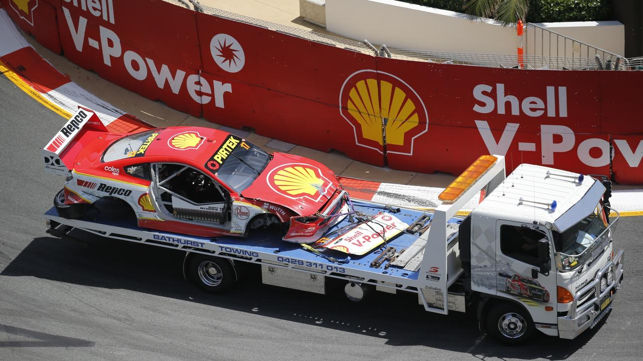 Scott McLaughlin's Mustang is carried off the track. Picture: Supercars Australia