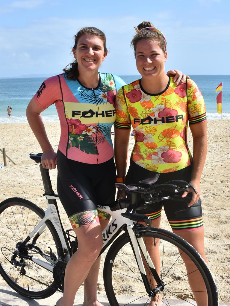 FOHER: Athletes Chloe Kay and Meg Radcliffe in their Foher apparel. The girls recently competed in the Ironman World Championships in Kona, Hawaii. Photo Caitlin Zerafa
