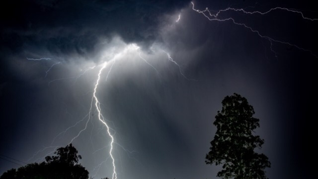Lightning captured over the Gympie region in Sunday night's electrical storm.