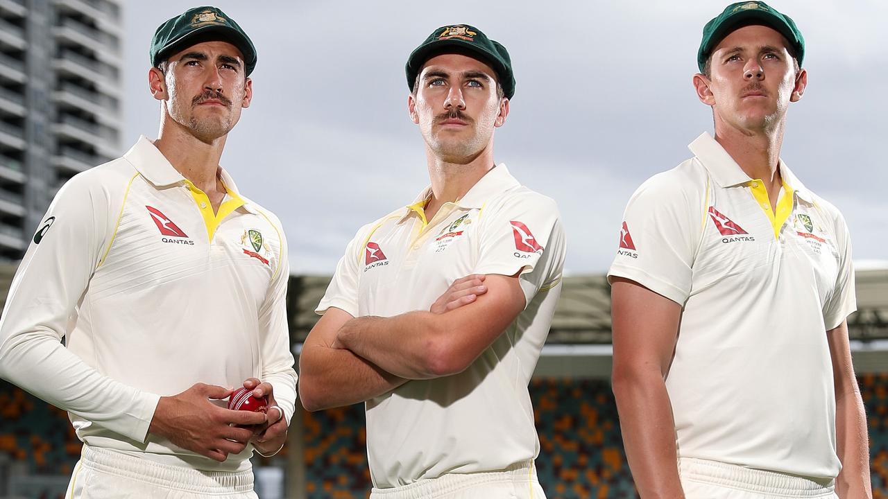 Australian fast bowlers Mitchell Starc, Pat Cummins and Josh Hazlewood. Picture: Peter Wallis