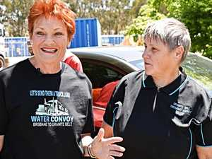 Hanson joins convoy to donate to water-starved residents