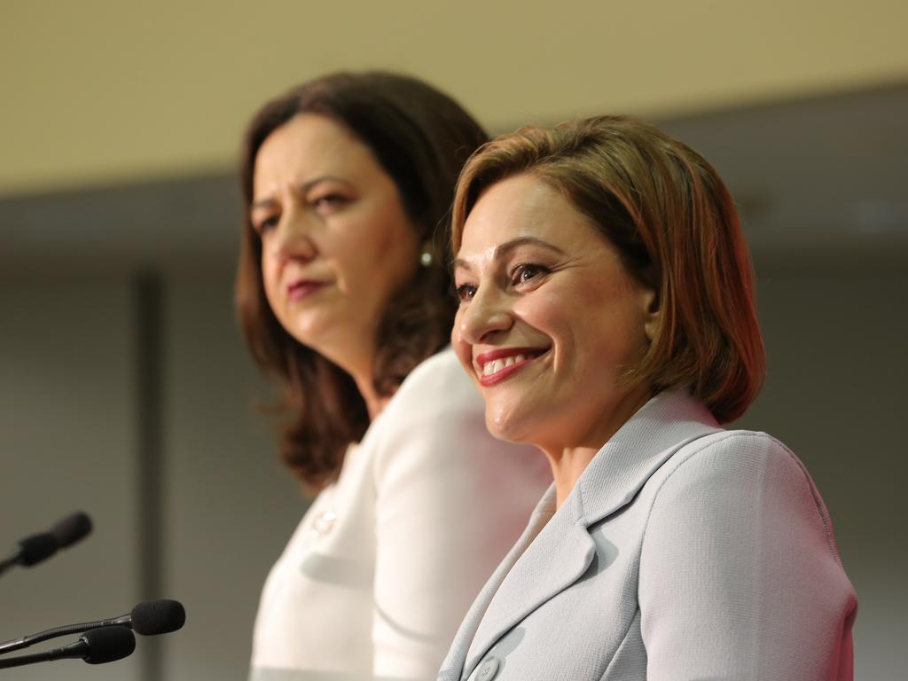 Premier Annastacia Palaszczuk and Treasurer Jackie Trad. Picture: Mark Cranitch.